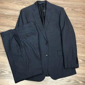 Brooks Brothers Navy Blue Glen Plaid Suit 42L Long